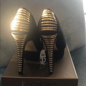 bebe Shoes - Bebe Black Suede/Gold Lacing up Heel, Sz 8,NWT